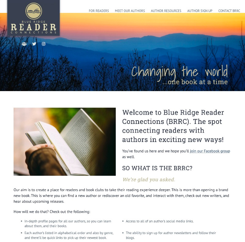 Blue Ridge Reader Connections web design by kikaDESIGN