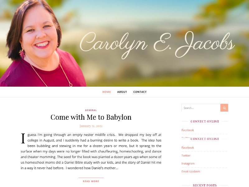 CarolynEJacobs.com web design by kikaDESIGN