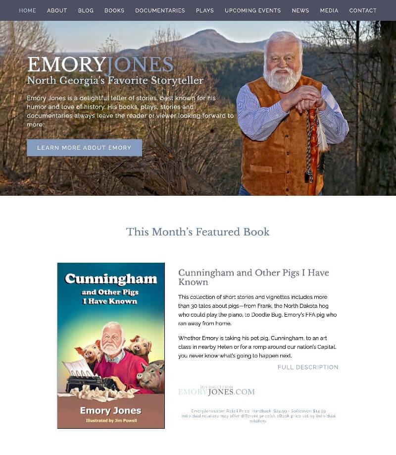 EmoryJones.com web design by kikaDESIGN