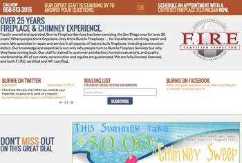 Burnie Fireplace Services web design by kikaDESIGN