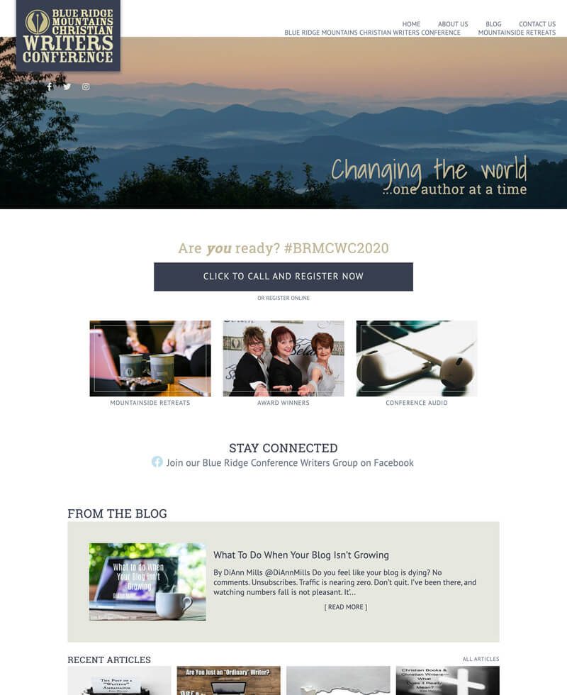 Blue Ridge Conference web design by kikaDESIGN
