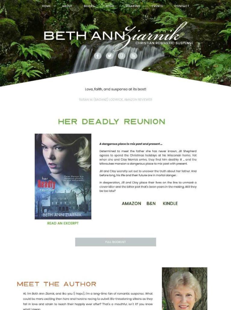 Beth Ziarnik web design by kikaDESIGN