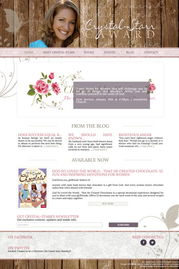 Crystal Starr Caward web design by kikaDESIGN