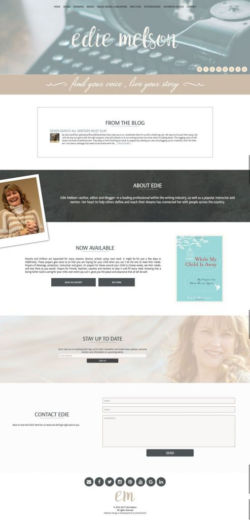 Edie Melson web design by kikaDESIGN
