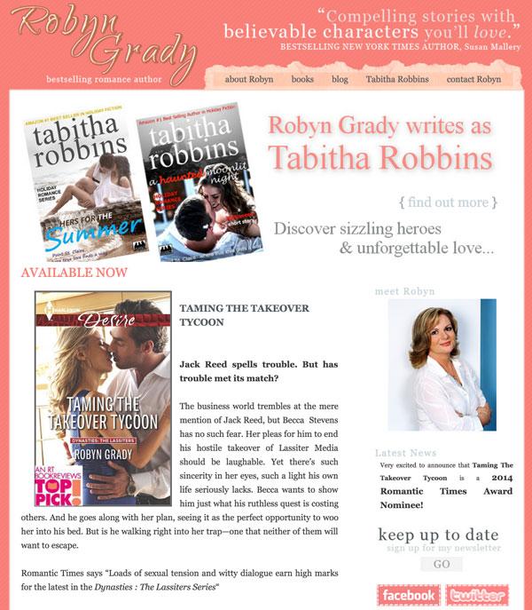 Robyn Grady web design by kikaDESIGN