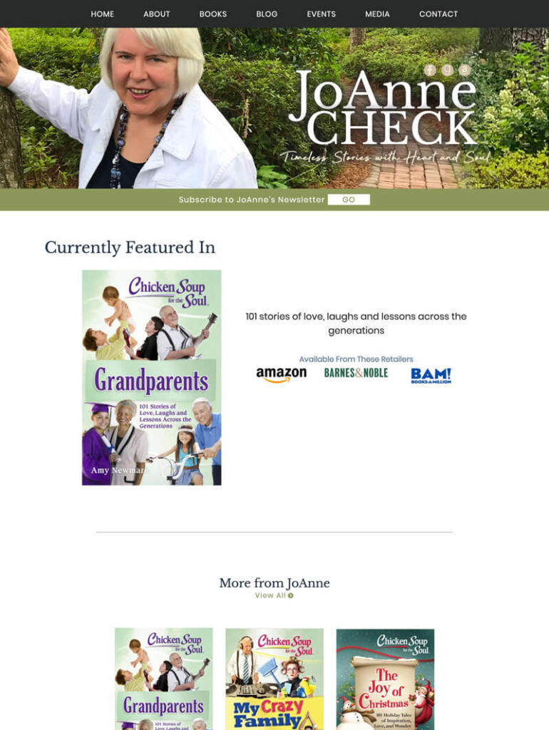 JoAnne Check web design by kikaDESIGN