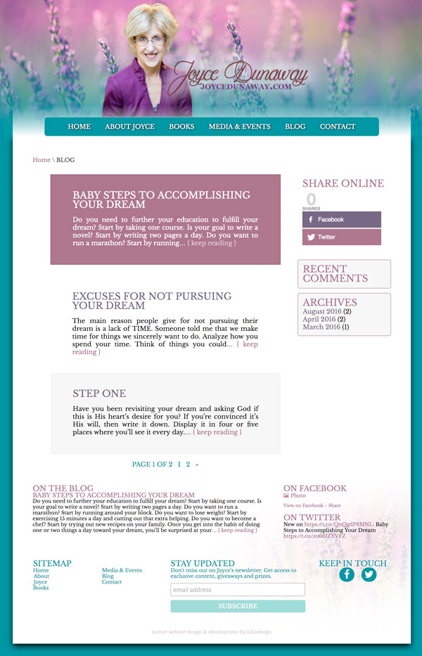 JoyceDunaway.com web design by kikaDESIGN