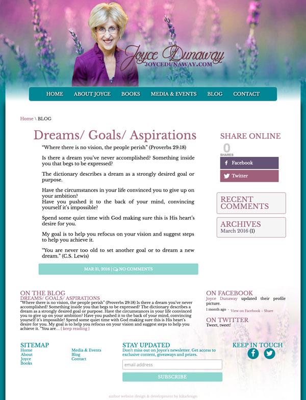JoyceDunaway.com web design by kikaDESIGN