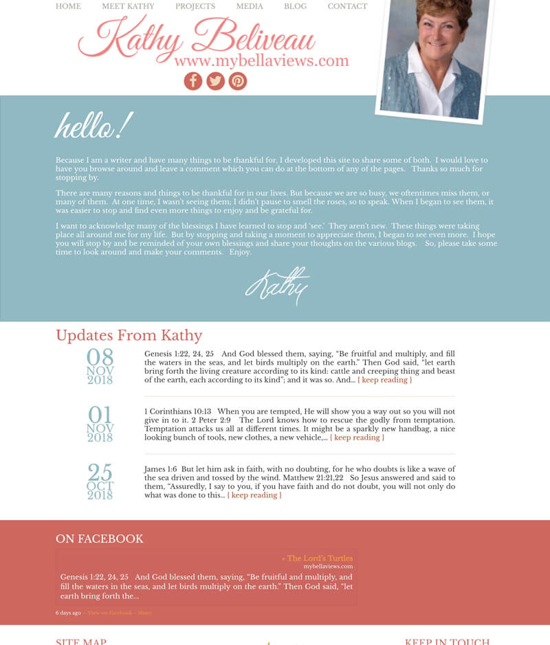 Kathy Beliveau web design by kikaDESIGN