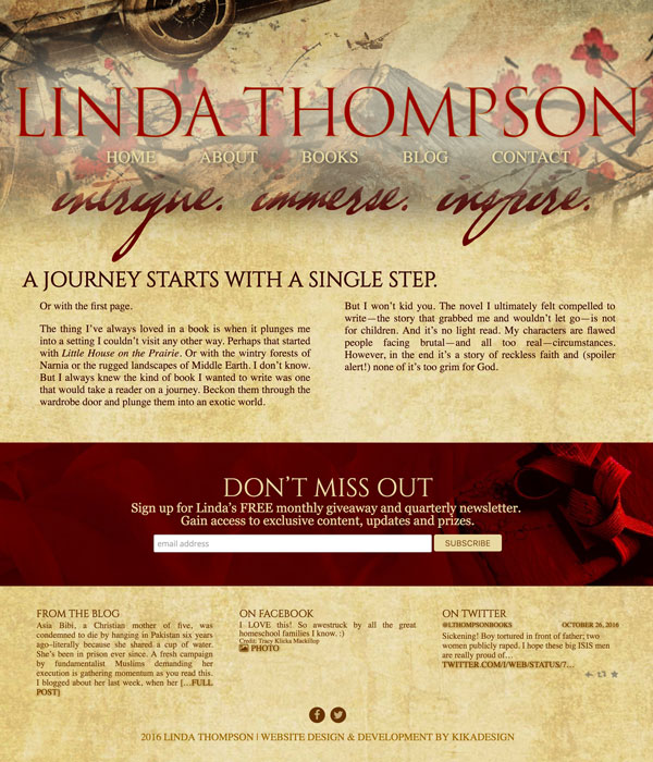 Linda Thompson web design by kikaDESIGN