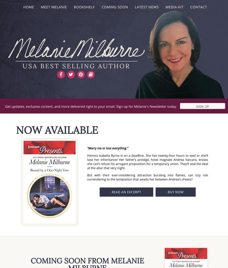 Melanie Milburne web design by kikaDESIGN