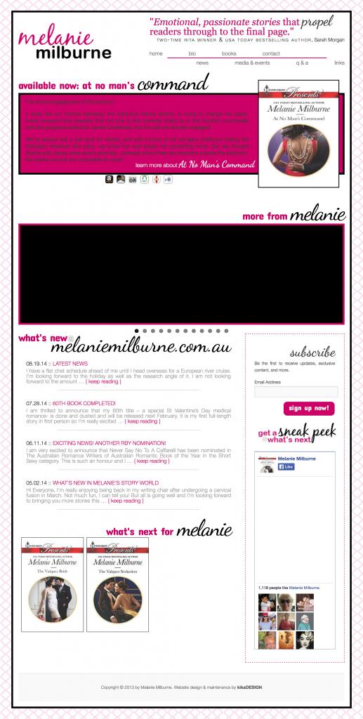 Melanie Milburne web design by kikaDESIGN