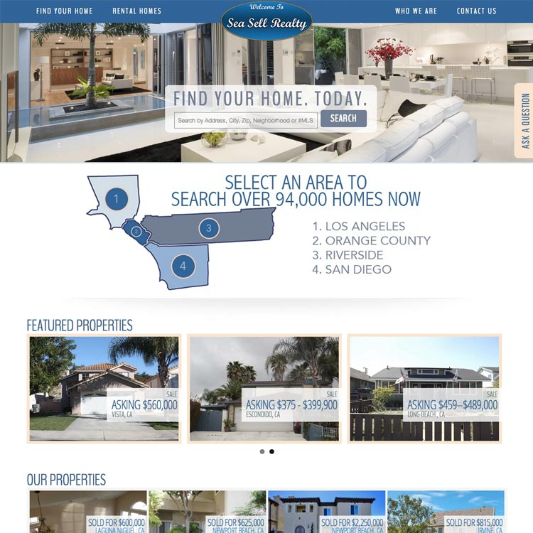 Sea Sell Realty web design by kikaDESIGN