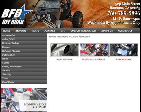 BFD Offroad web design by kikaDESIGN
