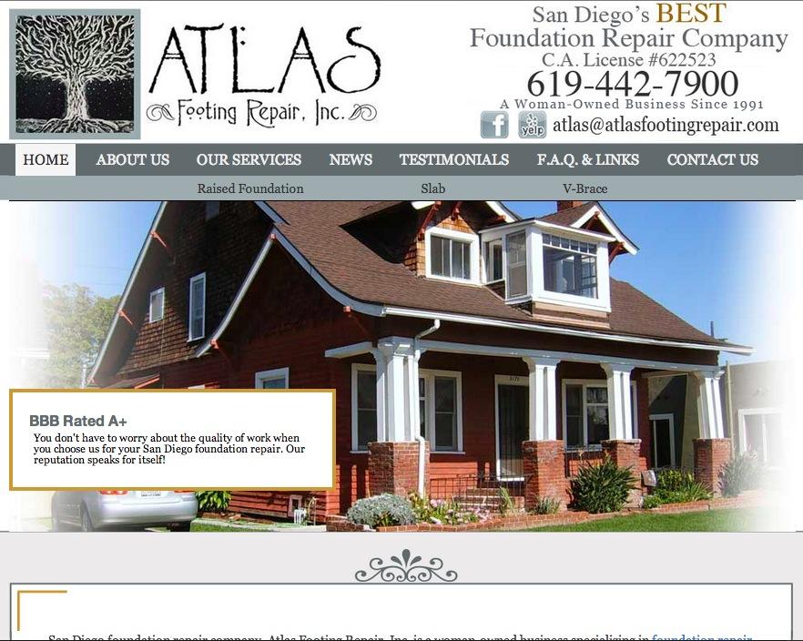 Atlas Footing Repair web design by kikaDESIGN