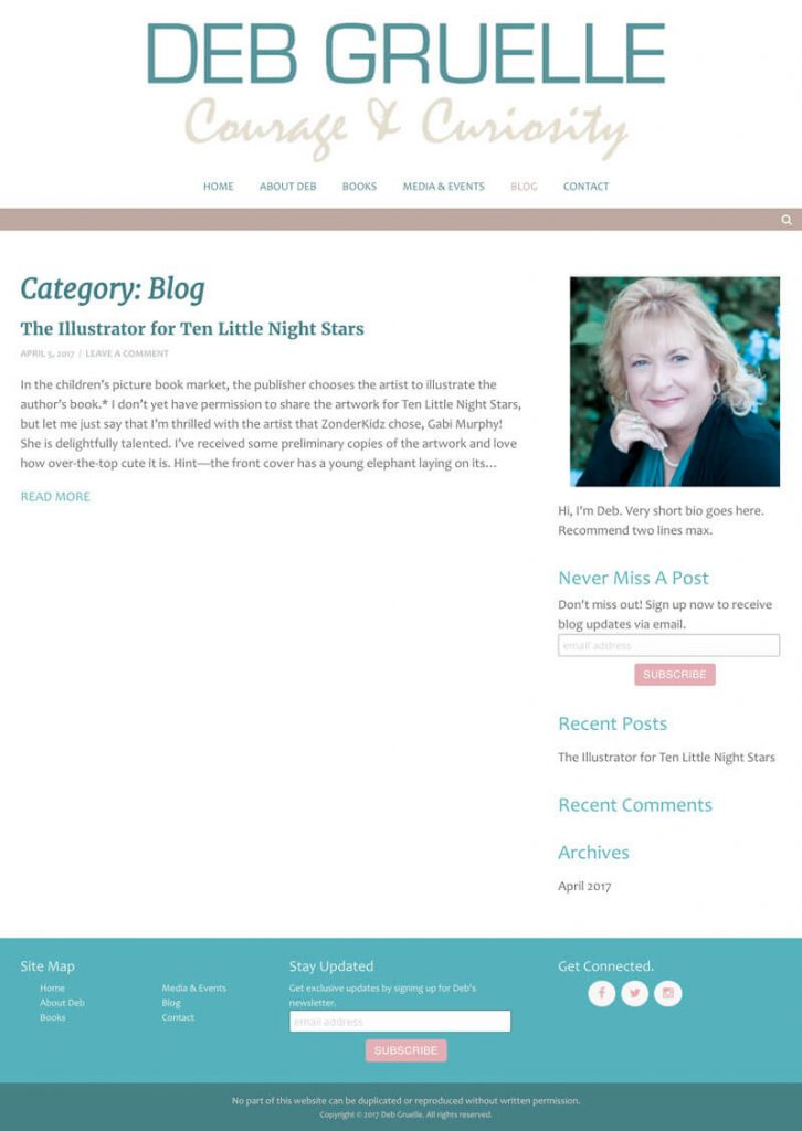 Deb Gruelle web design by kikaDESIGN