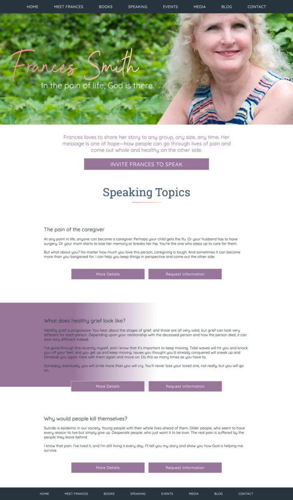 Frances Smith web design by kikaDESIGN