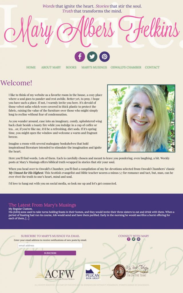Mary Felkins web design by kikaDESIGN
