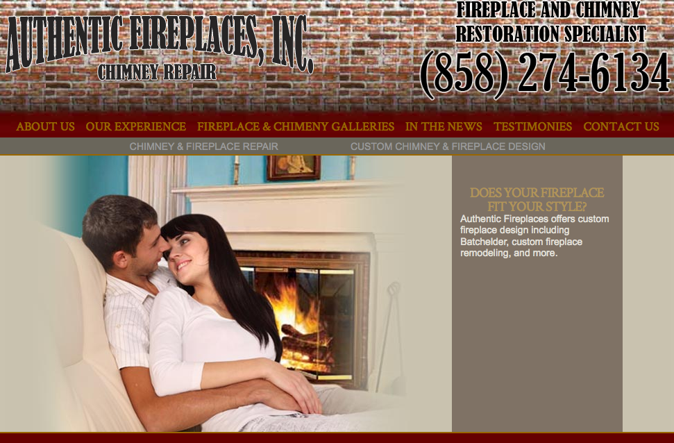 Authentic Fireplaces web design by kikaDESIGN