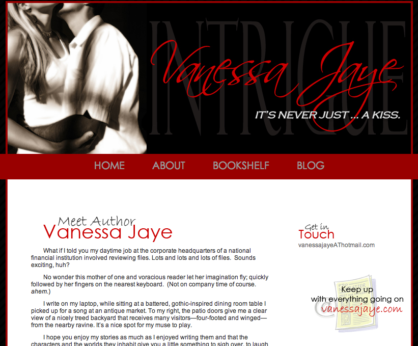 Vanessa Jaye web design by kikaDESIGN